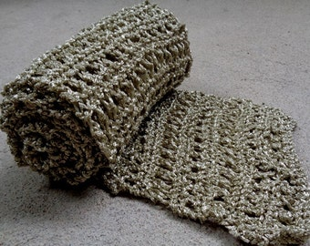 Hand Knit Light Gold/Silver Metallic Scarf