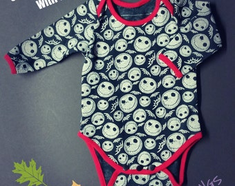 JACK SKELLINGTON BABY bodysuit, 9 sizes available, gender neutral bodysuit,