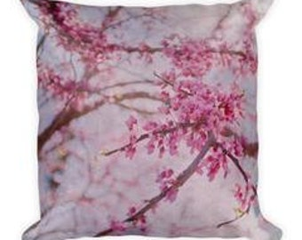 cherry blossom pillow, throw pillow, nature, flower, pink, close up, home decor, unique, macro, flower art