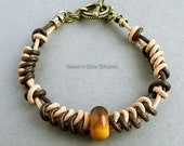 Braided Leather Bracelet for Men, Tiger Eye Stone, Brown and Tan Genuine Leather Cords, Antiqued Brass, Handcrafted