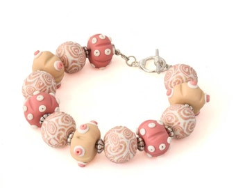 Seashell Bracelet - Pink Beaded Bracelet - Chunky Bracelet - Sea Bracelet - Statement Bracelet - Sea Urchin Jewelry - Gifts for Her
