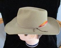 Mens Brown Hat ~ 57 Akubra Men's  Snowy River~ Men's Vintage   Fedora   made in Australia