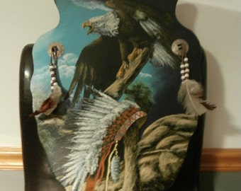 Eagle/Native American Indian Arrow Head /Feathers /Wood Wall Hanging /Sign  Home Decor Hand-made