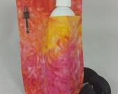 Massage Therapy single bottle LEFT hip holster, pen pocket, sunburst tie dye print, black belt