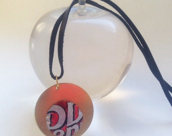 Domed Recycled Soda Can Pendant