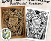 Witch Book of Shadows Spell Book Cover Digital Download Halloween Vintage Style Printable Image Clip Art Scrapbook Sheet Graphic Print