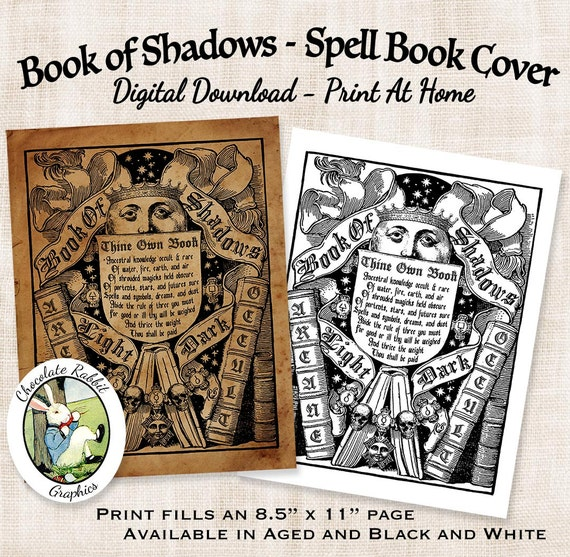 Book Of Shadows Cover Art : Witch book of shadows spell cover digital download