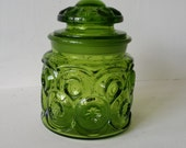 Vintage Gothic Green Moon and Stars Glass Canister Jar