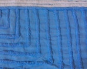 Blue Plush Vintage Chenille Bedspread Fabric 19 x 38 Inches