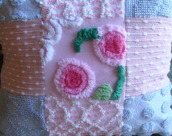 Sample Listing for Custom Ordering - Pink and Grey Handmade Patchwork Vintage Feed Sack and Chenille Fabric Pillow Cover