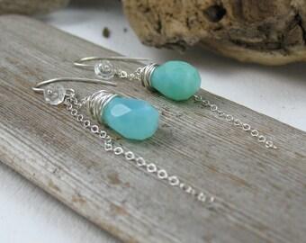 Peruvian Opal Earrings,Blue Peruvian Opal Earrings,Peruvian Opal Chain Earrings,Blue Peru Opal Earrings,Artisan Peruvian Opal Earrings