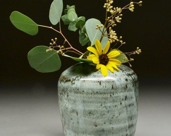 Handmade Stoneware Altered Wheel Thrown Vase Floral Container Glazed with Nuka and Tenmoku