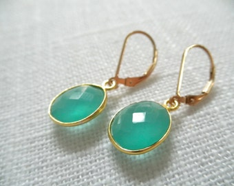 Aqua Chalcedony earrings - aqua earrings - gold earrings - E A R R I N G S