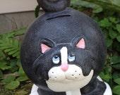 Cat, bank, kitty, piggy bank, black, white, feline