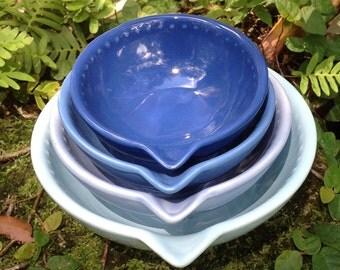 Ceramic measuring cup set, blue, ombré, nesting, cobalt, aqua