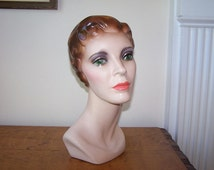 Mannequin Head, 1950s Woman, Hat Display, Hat Stand, Millinery Display, Store Display, Leadworks Cleve OH, Statue Bust