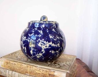 Bennington Potters, Covered Sugar Bowl, Blue Agate, Spatterware, Cobalt Blue, Bennington Pottery, Vintage, Blue Spatter