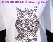 Owl & Key Graphic Tee READY TO COLOR Zendoodle Adult Coloring T Shirt White Unisex T-Shirt Original Drawing Transfer Great Holiday Gifts