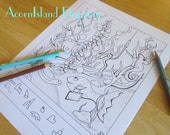 Fish Gone Wild Hidden Picture Adult or Kids Coloring Activity Page Printable Digital Download