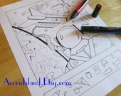 Astronaut Hidden Picture Adult or Kids Coloring Activity Page Printable Digital Download