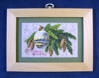 Antique Christmas Postcard Pine Cones Branches Christmas Greenery Framed