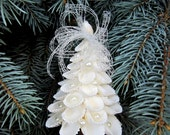 Beach Nautical Decor Seashell Christmas Tree Ornament w White Shells & Pearls