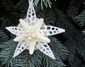 Beach Nautical Decor Cut Seashell White Christmas Ornament w Starfish