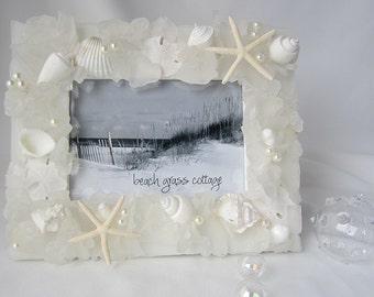 "Beach Wedding Frame, Sea Glass Picture Frame, Beach Glass Frame, Nautical Decor Seashell Frame, Seashell Frame, Coastal Decor WHITE 8x10"""