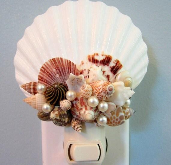 Beach Decor Seashell Night Light - Nautical Decor Shell Night Light - Shell Nite Light - Beach Home Decor - Coastal Home Decor BROWN -#CSNL