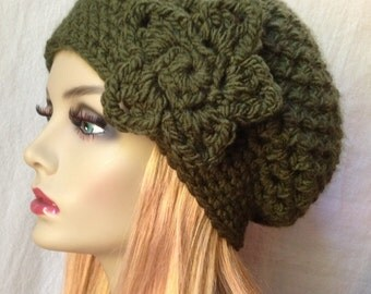 SALE Crochet Womens Hat, Slouchy Beret, Olive Green, Very Soft and Chunky, Warm, Teens, City Hat, Birthday Gifts, Gifts for Her, JE407SBT4