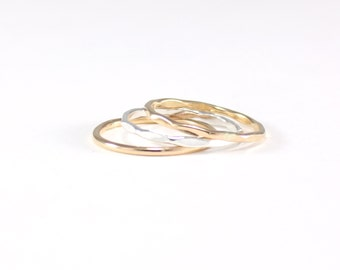 gold and recycled silver skinny 3 ring stack | mixed metal hammered stacking rings | set of three skinny hammered rings