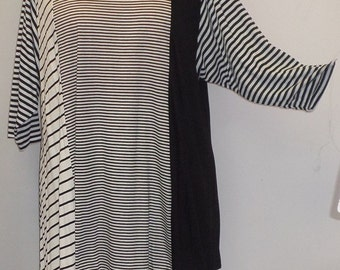 Plus Size Top, Asymmetric Tunic Top, Women Tunic, Coco and Juan, Multi Stripe #10 Knit Size 2 (fits 3X,4X)  Bust 60 inches