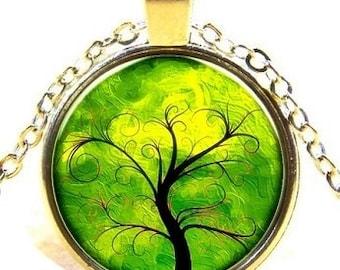 Tree Of Life Pendant , Silver  Glass Dome Pendant