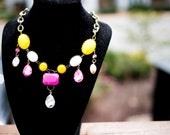 Bauble Jewel bib necklace made with vintage components