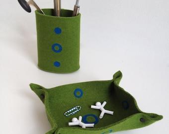 Office Desk Accessories, Desk Organizer, Office Supplies in Green and Blue Felt