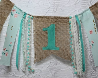 Free USA Shipping/Mint Green and Coral Fabric Banner/Mint Green and Coral High Chair Banner/1st Birthday Banner/Mint Gold Coral Pink Banner