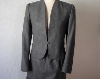 ON SALE 50% OFF Vintage Suit Dove Grey Pinstripe Pure Wool