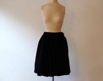 Vintage 1950s Black Velvet Skirt