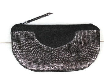 Half Moon Wool Clutch With Leather Appliques, Zippered Top, Dark Grey/Reptile Patterned Grey Leather