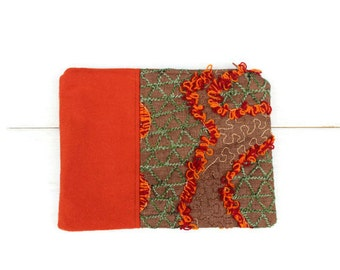 Orange Clutch Zipper Pouch, Orange Wool, Patterned Silk Wool Mix, Christmas Gift