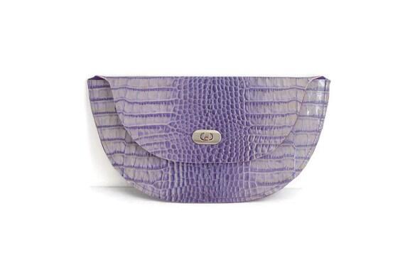 Crocodile Patterned Purple Leather half Moon Clutch, Minimalistic Style, Evening, Party, Wedding