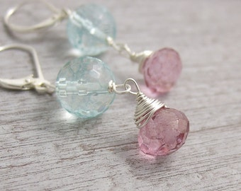 Earrings with Wire Wrapped Blue Quartz and Pink Quartz HE-336