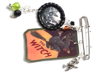 Witch Halloween Brooch Pin Flying Witch Charm Mixed Media Jewelry Vintage Whimsical Jewelry OOAK