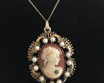 Vintage Victorian Revival Cameo Necklace Valentines Day