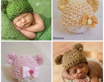 Bear Beanie Animal Boy Hat Newborn Girl Woodland Photo Prop Costume Ears READY Ship Hand Knit Teddy Knitted Earflaps Going Home Christmas