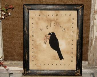 Crow Primitive Stitchery, Framed