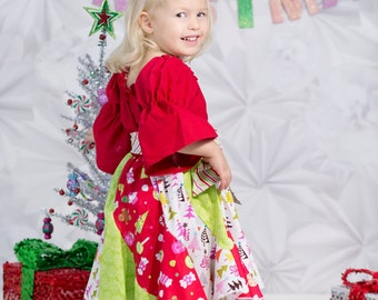 Girls Colorful Spiral Christmas Dress, sizes 6 months to 8 years, by SunLoveShirts
