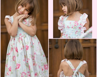 Girls Spring Dress - Roses Dress - Flutter Sleeve Dress - Blue - Lace Ruffle - Sleeveless - Nova Dress - Mothers Day - Church - Pictures