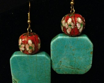 Earrings - Turquoise and Red Cloisonne