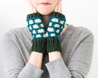 Colorwork Fingerless Mittens, Knitted Wool Winter Textured Fingerless Gloves - Riprap Mittens